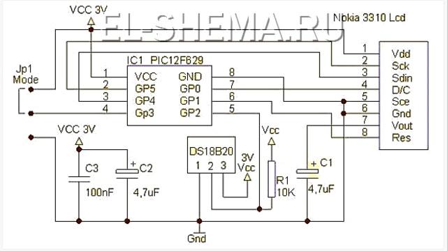 схема термометра на