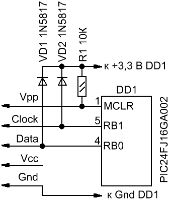 Программатор и адаптер собраны на общей печатной плате.